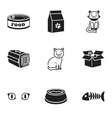 Cat equipment set icons in black style Big vector image vector image