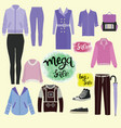 clothes and accessories fashion icon set vector image vector image