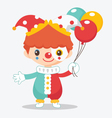 cute clown with balloon vector image vector image