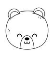 cute polar bear head on white background thick vector image vector image