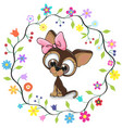 cute puppy in a flowers frame vector image