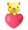 cute yellow bear holding a big pink heart on vector image vector image