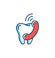 dental care thin line icon tooth and phone vector image vector image