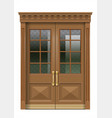 facade with old wooden entrance door vector image vector image