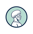 female nurse wearing face mask side profile mascot vector image vector image