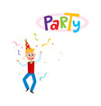 flat man dancing in party hat vector image vector image