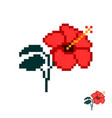 flower in the style of pixel art red hibiscus vector image
