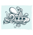 giant octopus plays with a submarine vector image vector image