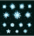 glowing snowflakes set vector image vector image