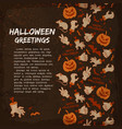 halloween elements greeting card vector image