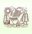 hand drawn camping line vector image vector image