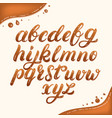 hand written lowercase alphabet made of caramel vector image