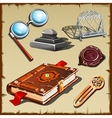 Historical set with an old book and Royal elements vector image vector image