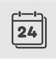 icon calendar day number 24 line flat vector image vector image