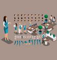 isometric vintage background bank worker girl vector image vector image