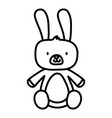 kids toy cute rabbit furry animal icon thick line vector image