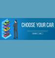 man chooses a car vector image
