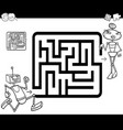 maze with robots coloring page vector image vector image
