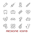 Medicine and health thin line icons set vector image vector image