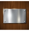 metal plate on a wooden surface vector image vector image