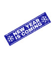 new year is coming grunge rectangle stamp seal vector image vector image
