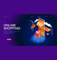 online shopping isometric concept banner vector image