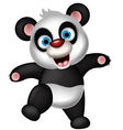 panda cartoon dancing vector image vector image
