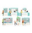 pharmacy or drugstore modern interior with vector image