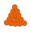 pile basketball isolated lot of balls for games vector image vector image