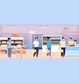 queue in supermarket cashier grocery store vector image