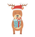 reindeer with hat and gift box celebration merry vector image