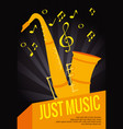 saxophone musical instrument label vector image vector image