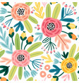 seamless flourish pattern with flowers plants and vector image
