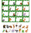 set of animal on nature frame vector image vector image