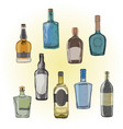 Set of bottles with alcohol seamless vector image