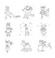Set of cute animals in the winter nursery art vector image