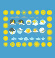 set of weather icons sun cloud rain vector image vector image