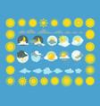 Set of weather icons sun cloud rain