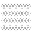set round line icons fast food vector image