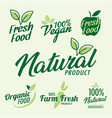 set stamp lettering for organic product vector image