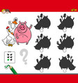 shadows activity game with cute farm animals vector image vector image