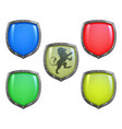 shields in different colours vector image vector image