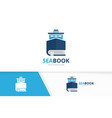 ship and book logo combination boat and vector image