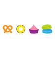 soft pretzel donut cupcake macaron or macaroon vector image vector image