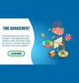 time management concept banner isometric style vector image