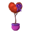 Tree with red foliage in the shape of a heart vector image