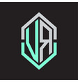 vr logo monogram with hexagon shape and outline vector image vector image