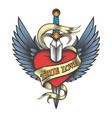 winged heart pierced by dagger vector image vector image