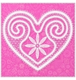 White lace heart on pink ornate background vector image