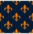 Seamless orange fleur-de-lis floral pattern vector image